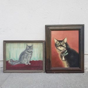 Vintage Cat Portrait Paintings